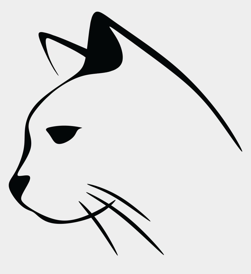 cat clip art, Cartoons - Stylized Cat Line Art - Cat Head Clip Art