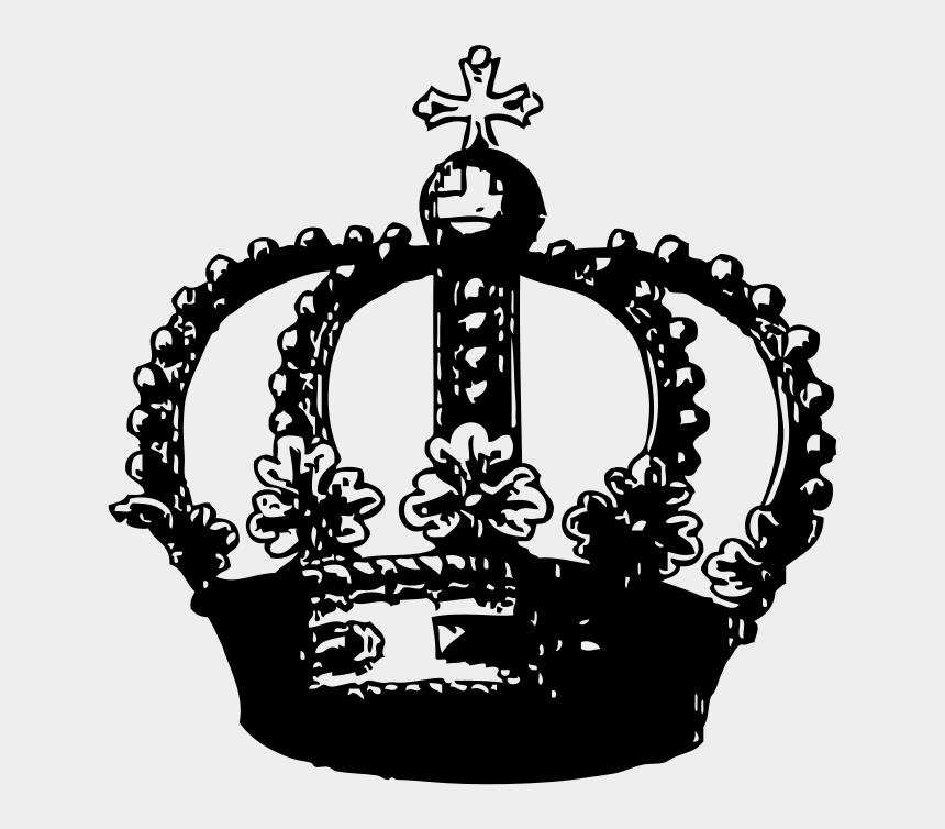 crown clip art, Cartoons - Front Crown Clipart, Vector Clip Art Online, Royalty - Transparent Black And White Crown