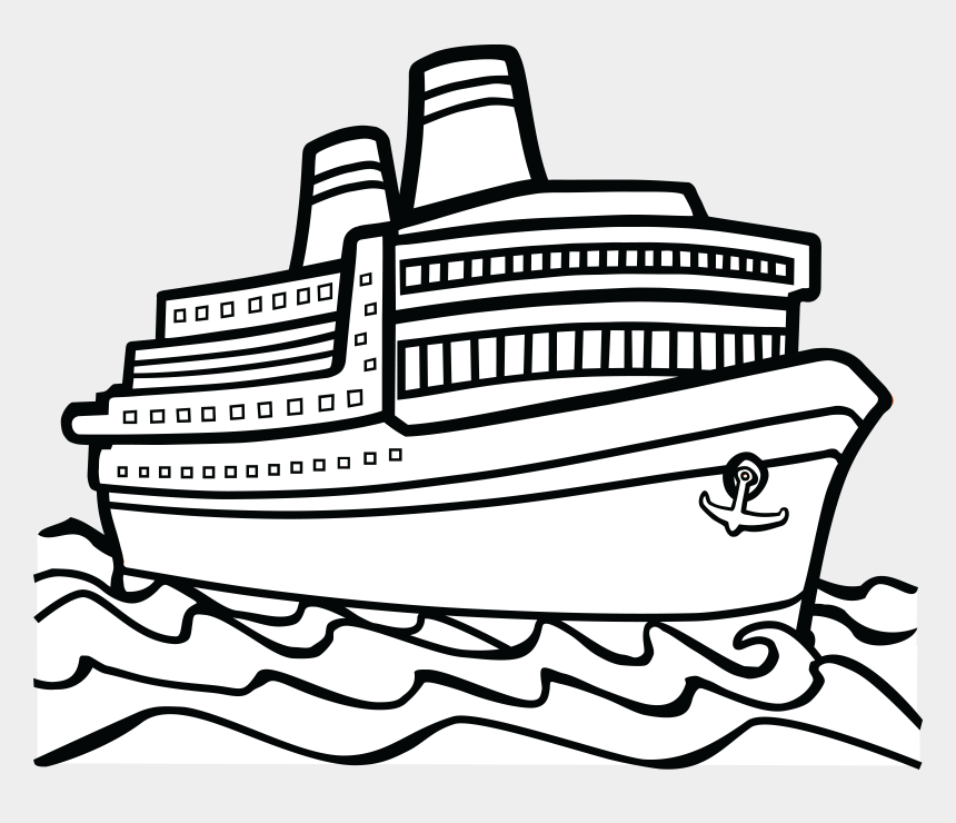 clip art pictures, Cartoons - Free Clipart Of A Cruise Boat - Ship Black And White