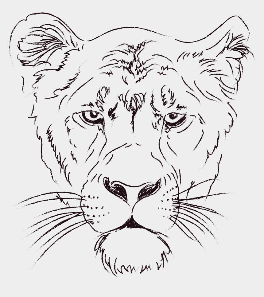 lion clipart, Cartoons - White And Black Lion Clipart - Animal Face Line Art
