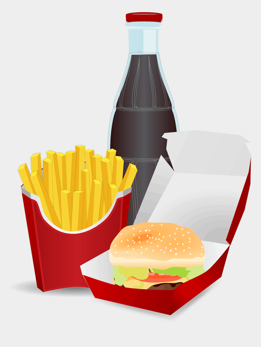 food clipart, Cartoons - Burger Fries Softdrink - Junk Food Clipart Transparent