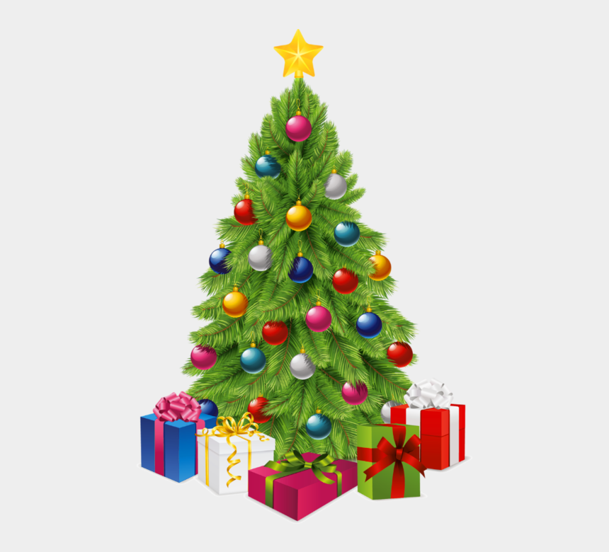 christmas clip art, Cartoons - Transparent Christmas Tree With Gift Boxes Png Picture - Christmas Tree With Gifts Transparent Background