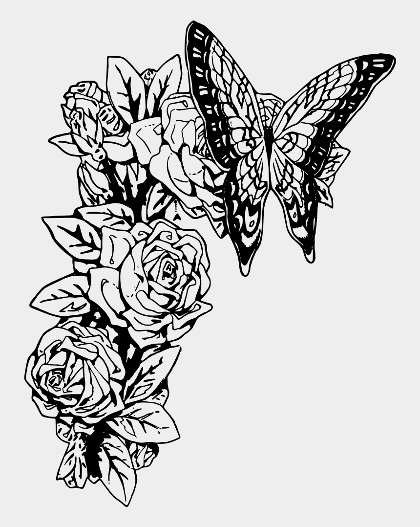 butterfly clip art black and white, Cartoons - Butterfly And Roses - Butterfly Black And White Drawing