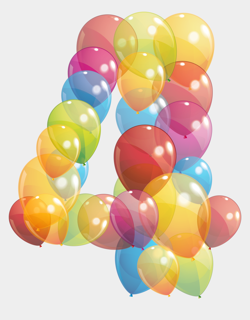 birthday balloons clip art, Cartoons - 422 - Number 4 Balloon Png