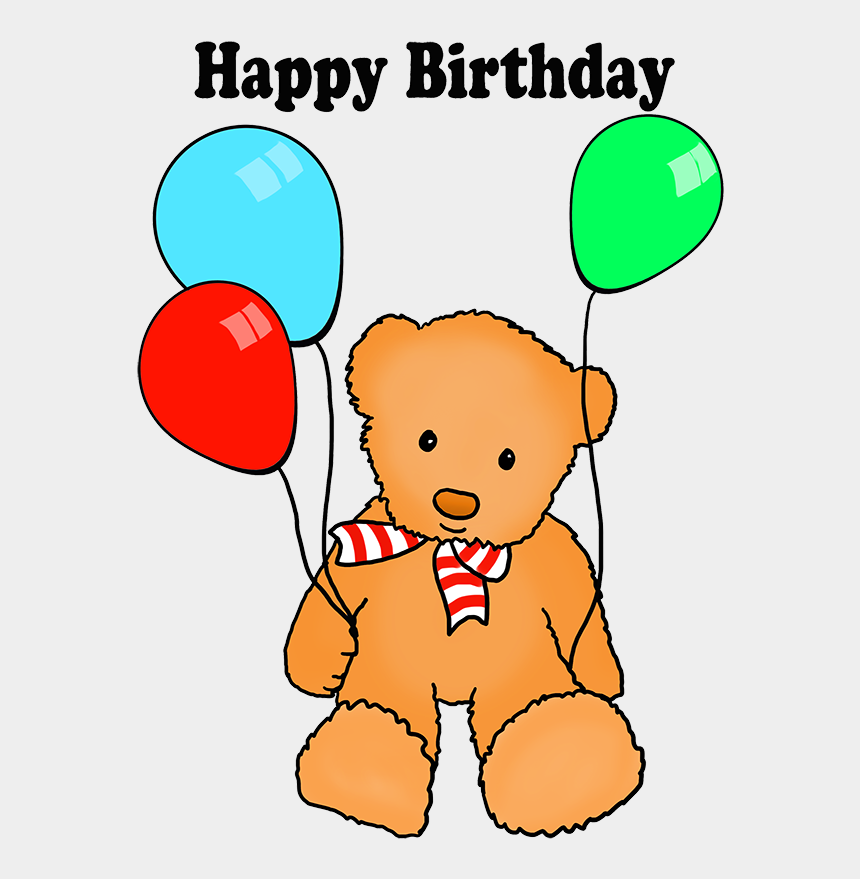 birthday balloons clip art, Cartoons - Cute Happy Birthday Greeting Teddy Balloons, Birthday - Love