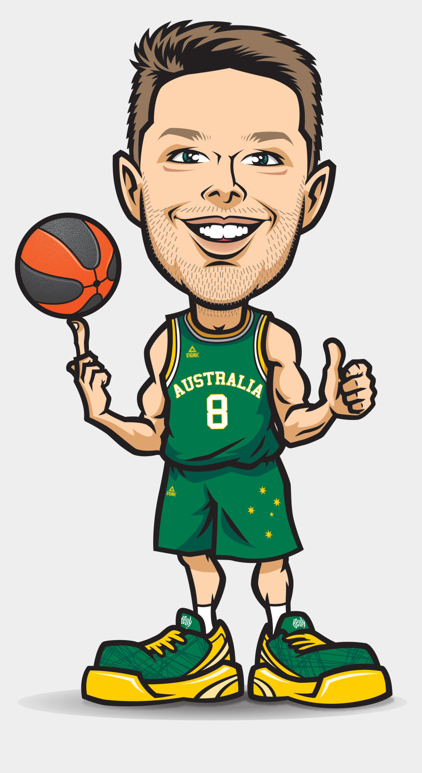 basketball hoop clipart black and white, Cartoons - Ba Matthewdellavedova Final - Basketball Player Cartoon No Ball