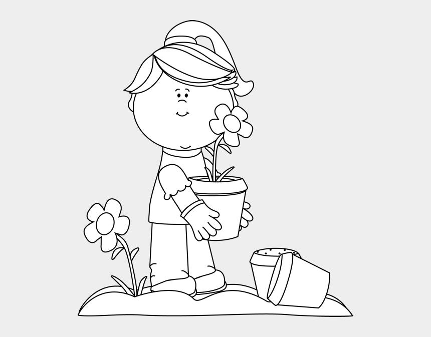 flowers clipart black and white, Cartoons - Clip Art Girl Planting Image Ⓒ - Gardener Clipart Black And White