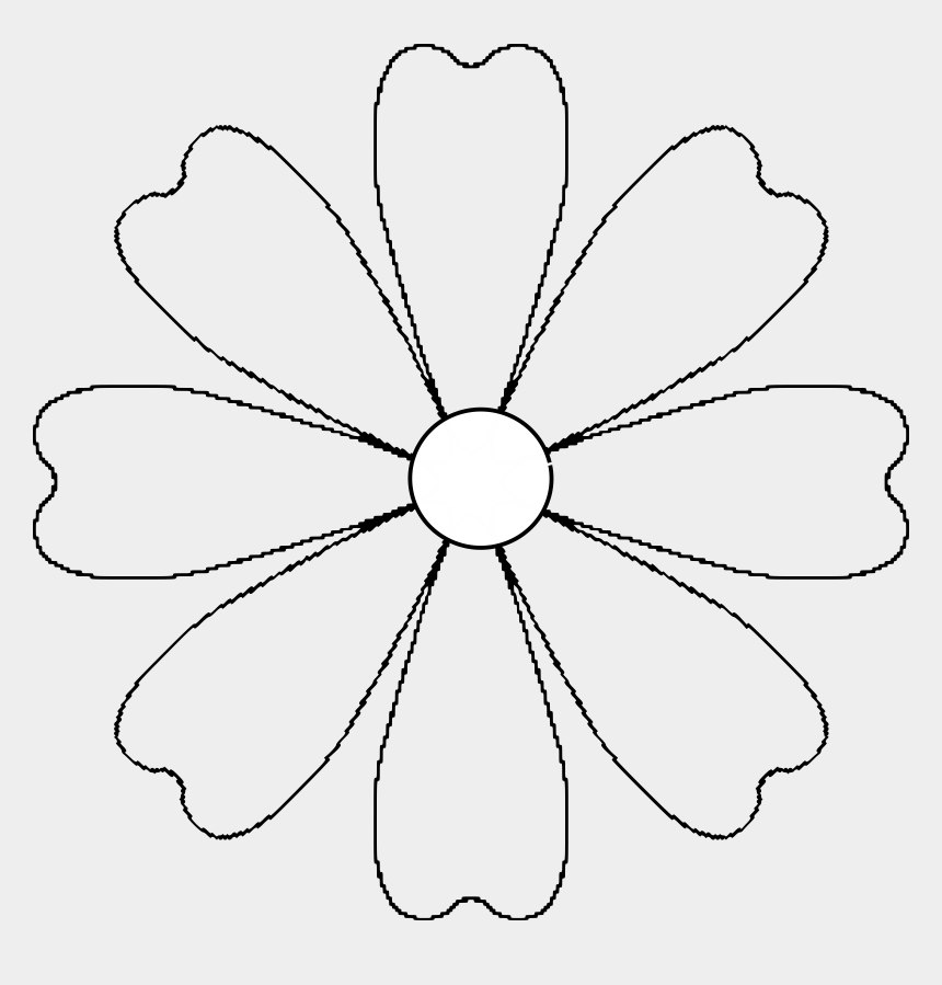 flowers clipart black and white, Cartoons - Blank Drawing Flower - 8 Petal Flower Template
