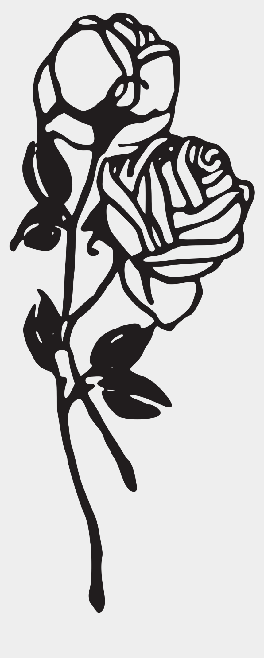 flowers clipart black and white, Cartoons - Flower Stem Black And White Clip Royalty Free Stock - Black And White Rose Tattoo Png
