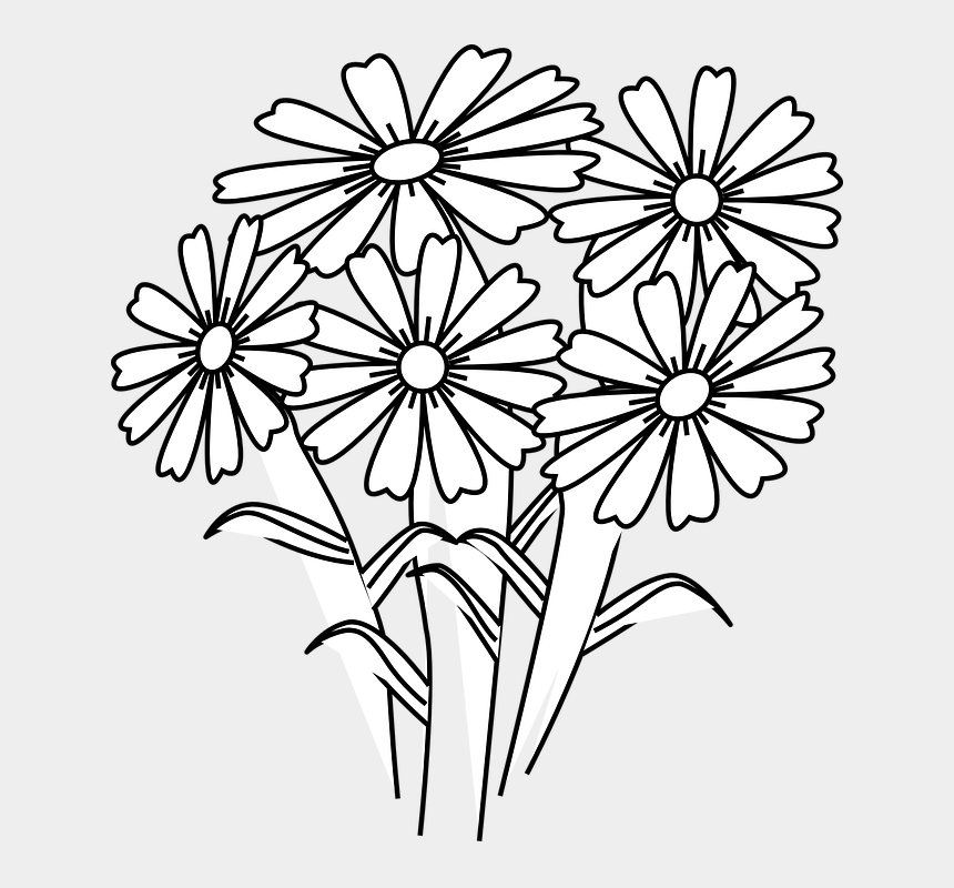 flowers clipart black and white, Cartoons - Five Flowers Clipart Black And White