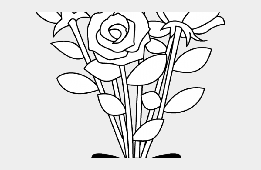 flowers clipart black and white, Cartoons - Flower Clipart Black And White - Bouquet Of Flowers Clipart Black And White