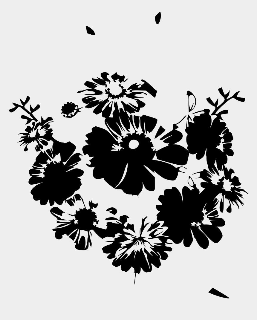 flowers clipart black and white, Cartoons - White Flower Clipart Summer - Floral For Design T Shirt