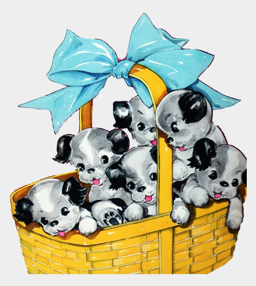 puppy clip art, Cartoons - Clipart Present Puppy - Illustrations Vintage Puppies