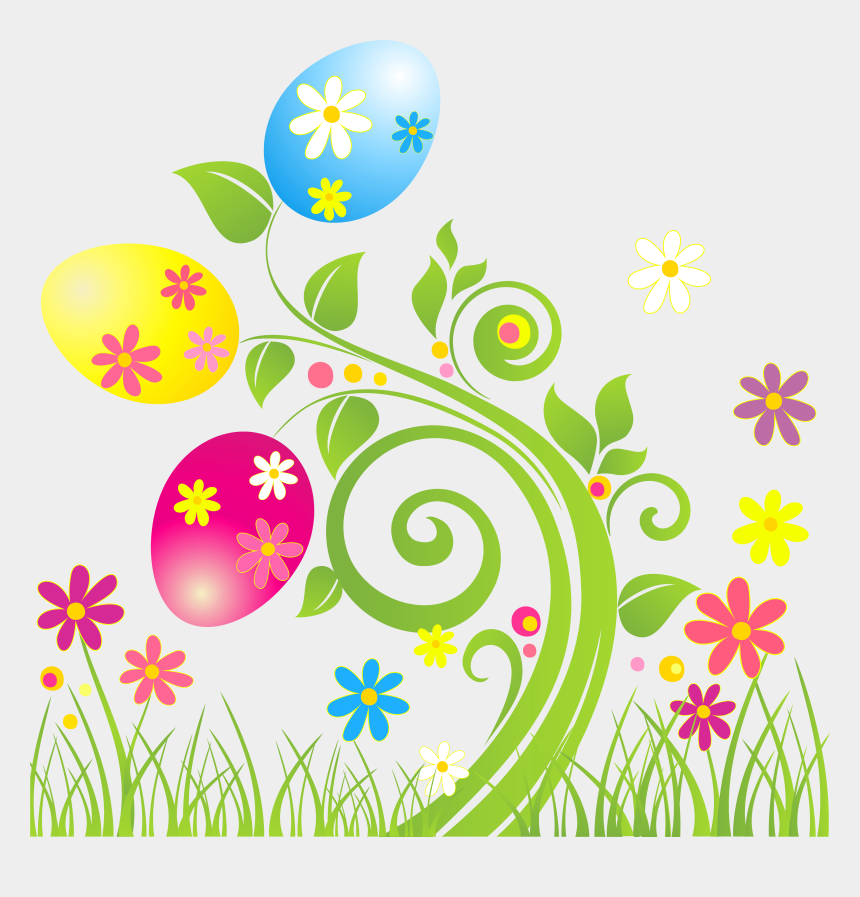 palm sunday clip art, Cartoons - Egg Decoration With - Borders Grass With Flower