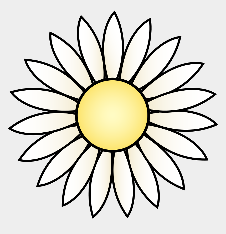 flowers clipart black and white, Cartoons - White Daisy Flower - Black And White Sunflower Clipart
