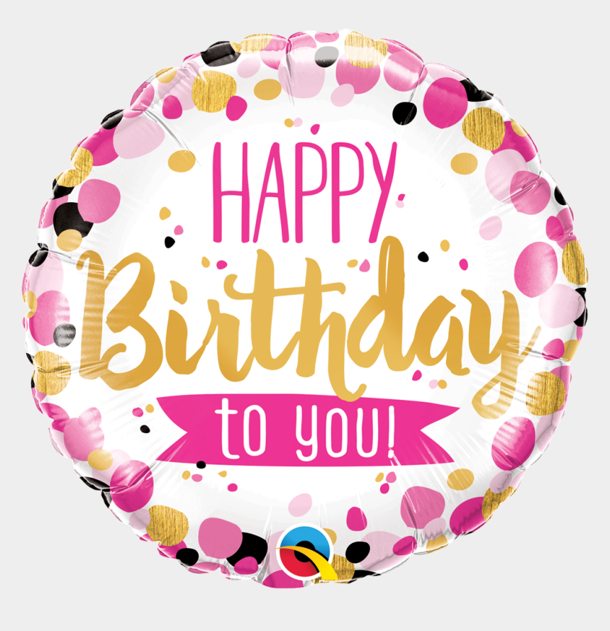 "clip art balloons, Cartoons - 18"" Happy Birthday To You Pink & Gold Foil Balloon - Qualatex Happy Birthday Balloons"