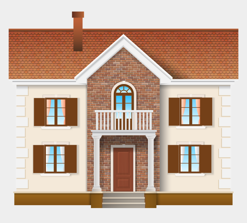 clipart of houses, Cartoons - House Large Png Clip Art - Casa Con Balcones Y Flores