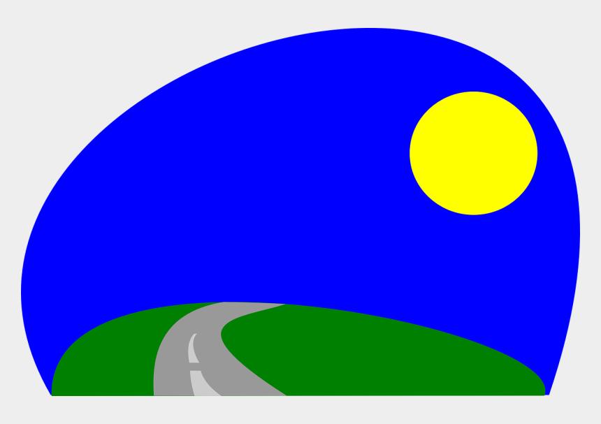 horizon clipart, Cartoons - Landscape, Road, Horizon, Moon, Night, Grass - Desenho Estrada Com Paisagem