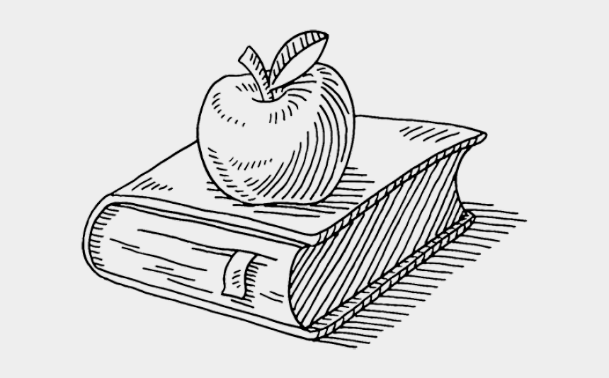 teacher apple clipart black and white, Cartoons - Book And Apple Drawing