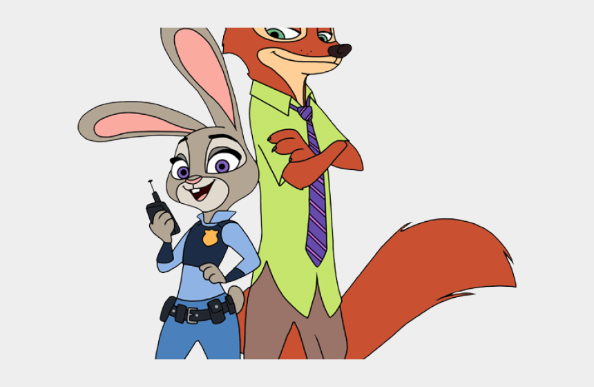 mad dog clipart, Cartoons - Character Clipart Zootopia - Judy And Nick Coloring Pages