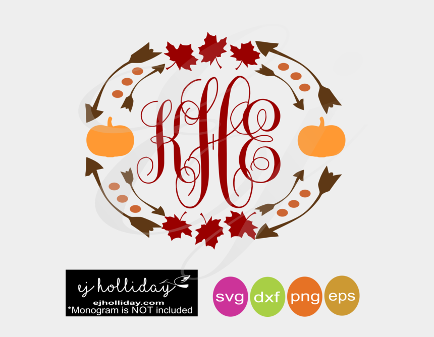 fall pumpkins clipart, Cartoons - Fall Leaves And Pumpkins Monogram Frame Svg Dxf Eps - Fall Monogram Frame Svg