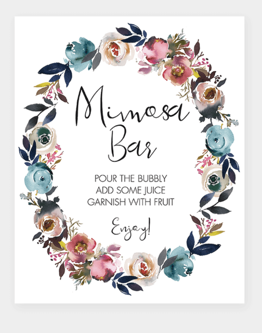 graphic regarding Mimosa Bar Sign Printable Free known as Printable Mimosa Bar Indicator For Themed Shower - Totally free Boho Child