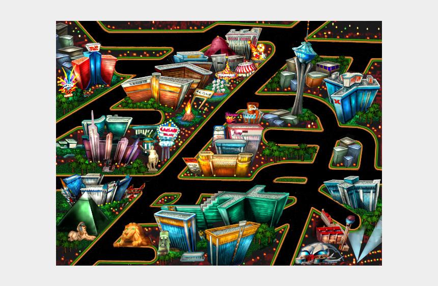 las vegas skyline clipart, Cartoons - One More 'roadies' Map, This Colorful Illustration - Las Vegas Strip Cartoon Map