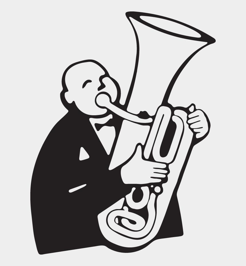 tuba clipart, Cartoons - Cartoon Man Playing Tuba - Clip Art