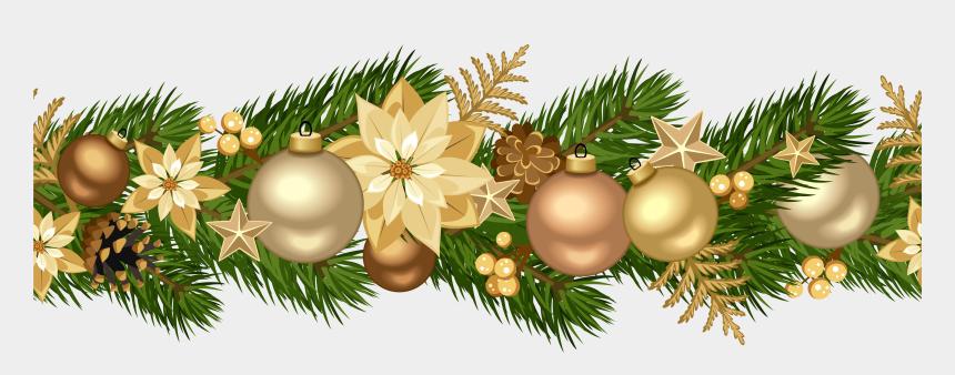 christmas clip art border, Cartoons - Christmas Garland Border Clip Art - Gold Christmas Garland Png