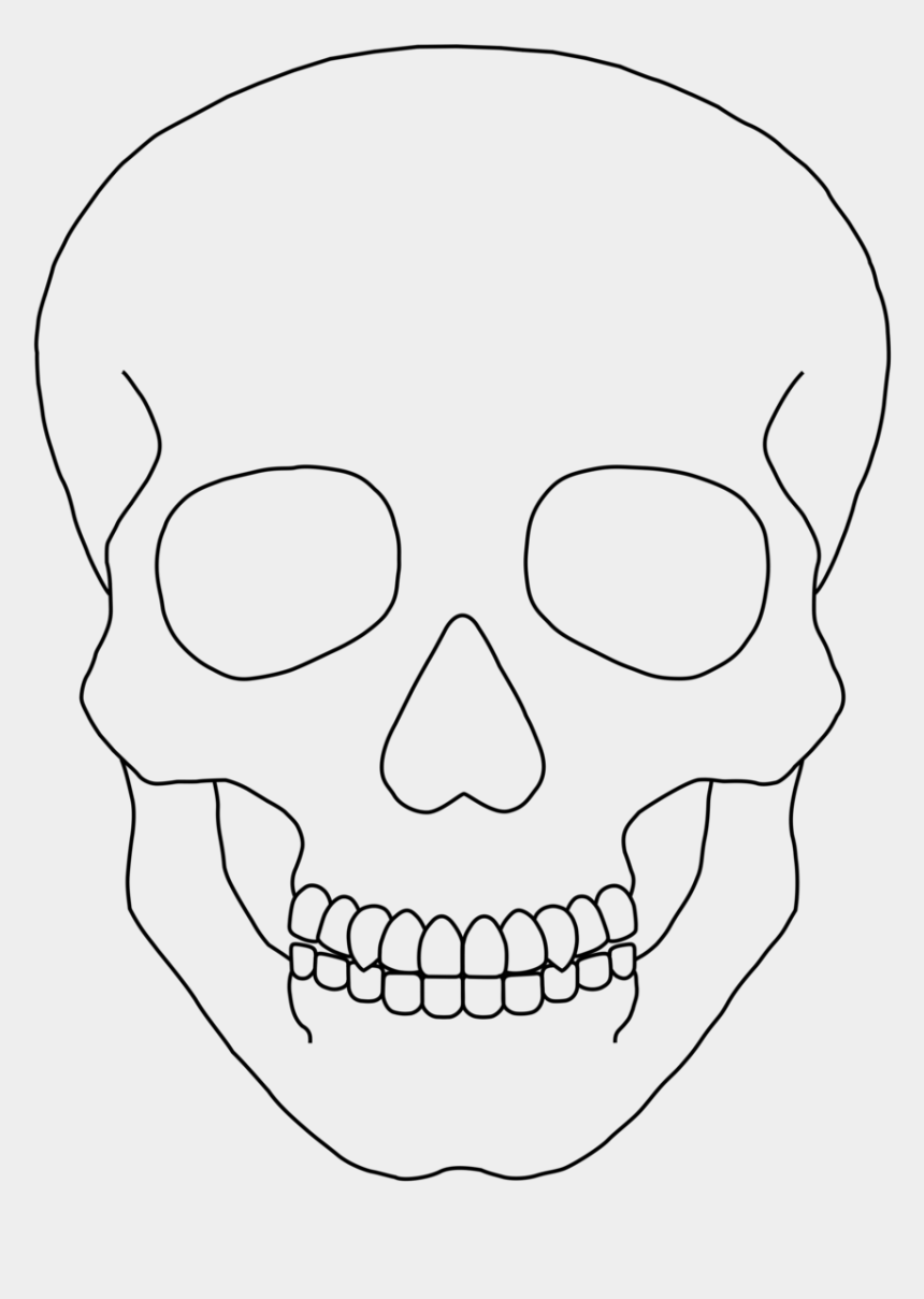 skull clip art, Cartoons - Skull Outline Clip Art - Simple Human Skull Drawing