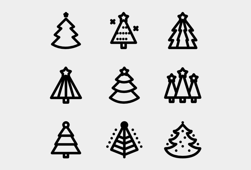 christmas tree clip art black and white, Cartoons - Cool Christmas Trees Line - Christmas Tree Line Icon