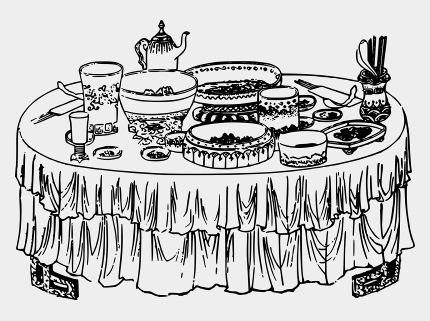 food clip art, Cartoons - Free Vector Graphic - Table With Food Drawing