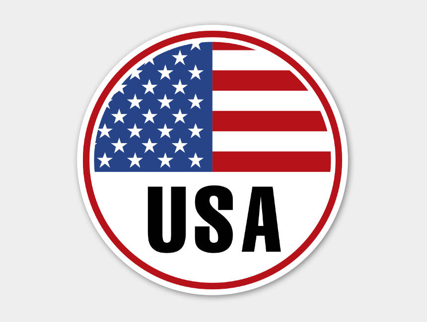 american flag clipart, Cartoons - Usa Round Flag Sticker - Flag Vector Us