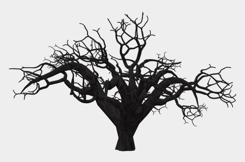 dead trees clipart, Cartoons - Dead Trees Black And White Silhouette Download - Scary Tree Png