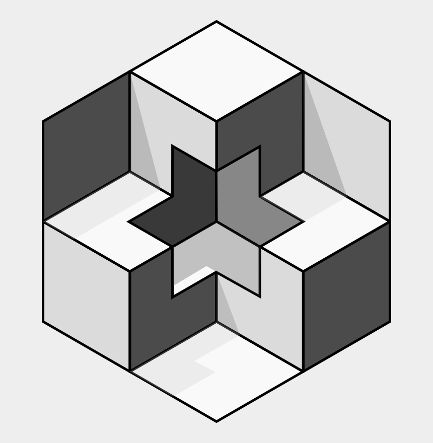 geometric clipart, Cartoons - Optical Illusion 3d Shapes