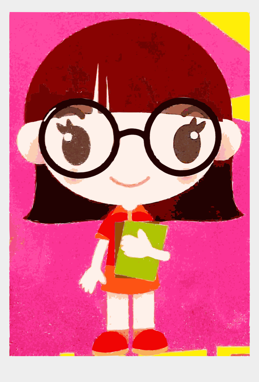nerdy glasses clipart, Cartoons - Clipart - Boy Cartoon Cute Girl Character With Glasses