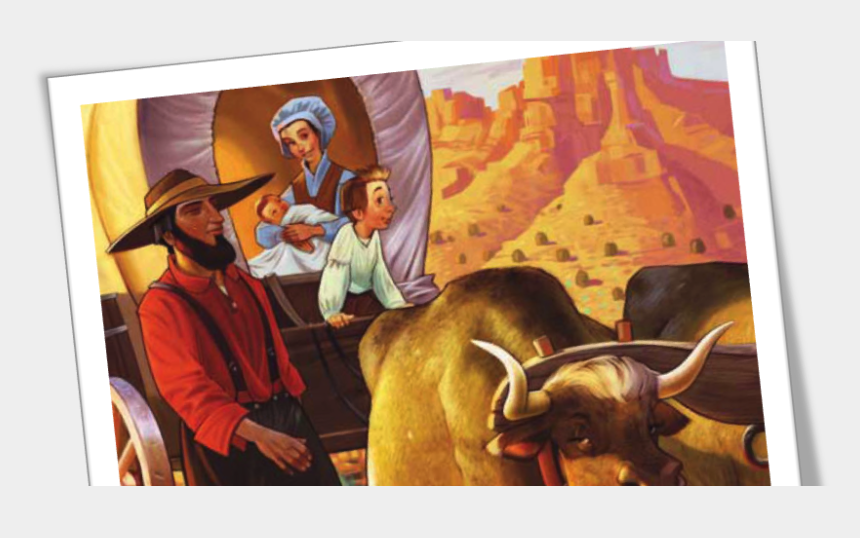 oxen clipart, Cartoons - Covered Wagon Pioneer Family