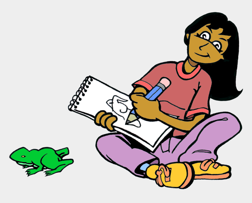 observe clipart, Cartoons - Drawing Of A Girl Observing A Green Frog On The Floor - Girl Drawing