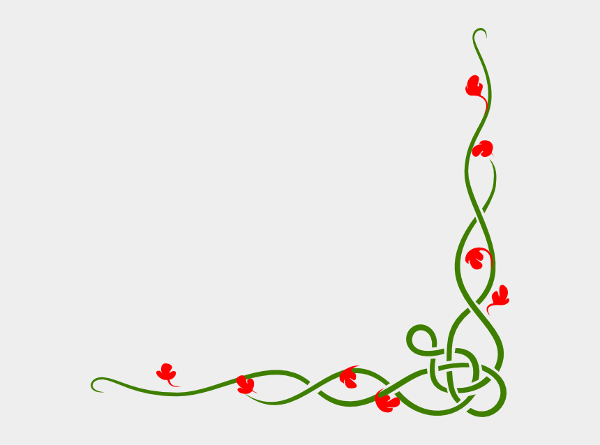 vine plant clipart, Cartoons - This Free Clip Arts Design Of Green Vine Red - Bottom Right Corner Border Png
