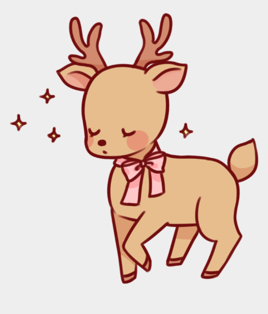 cute bow clipart, Cartoons - #deer #brown #pink #bow #cute #yellow #sparkle #sparkles - Kawaii Deer Clip Art