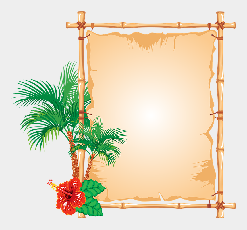 caribbean clipart, Cartoons - Bamboo, Border, Caribbean, Flower, Frame - Page Border Design For Project