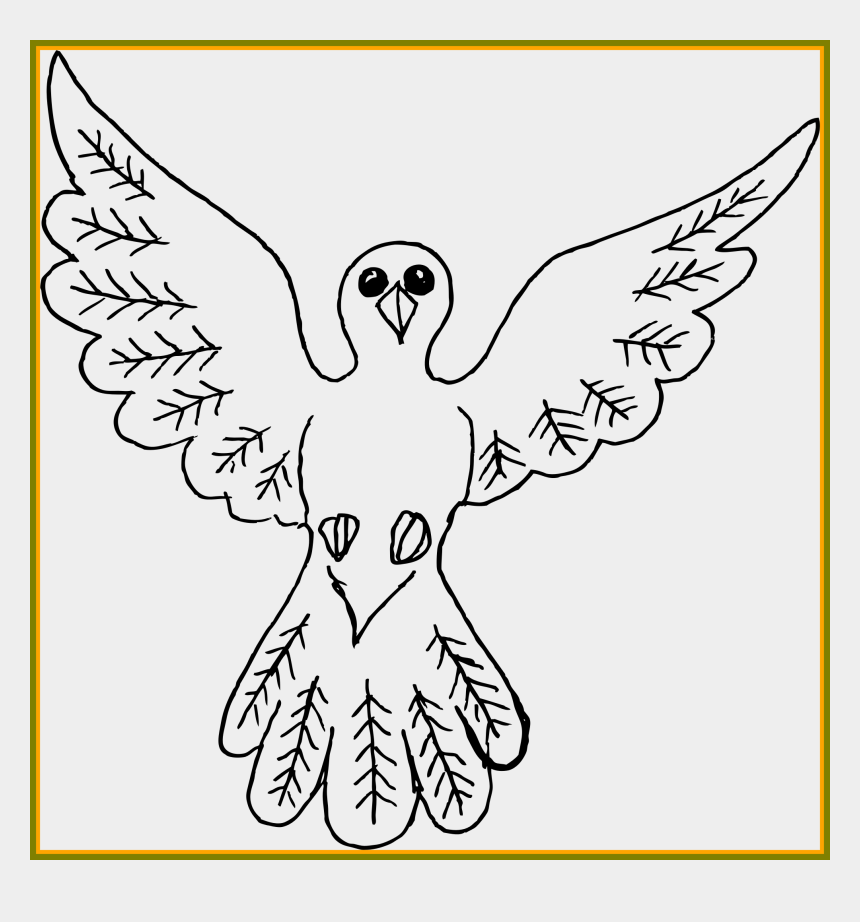 feather outline clipart, Cartoons - Drawn Dove Outline - Big Bird Drawing
