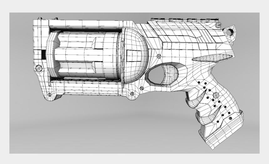 nerf gun clipart, Cartoons - For Portfolio Created In Maya Nerf Gun - Revolver