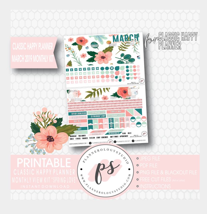 month of march clipart, Cartoons - Spring Love March 2019 Monthly View Kit Digital Printable - May Planner 2018 Stickers
