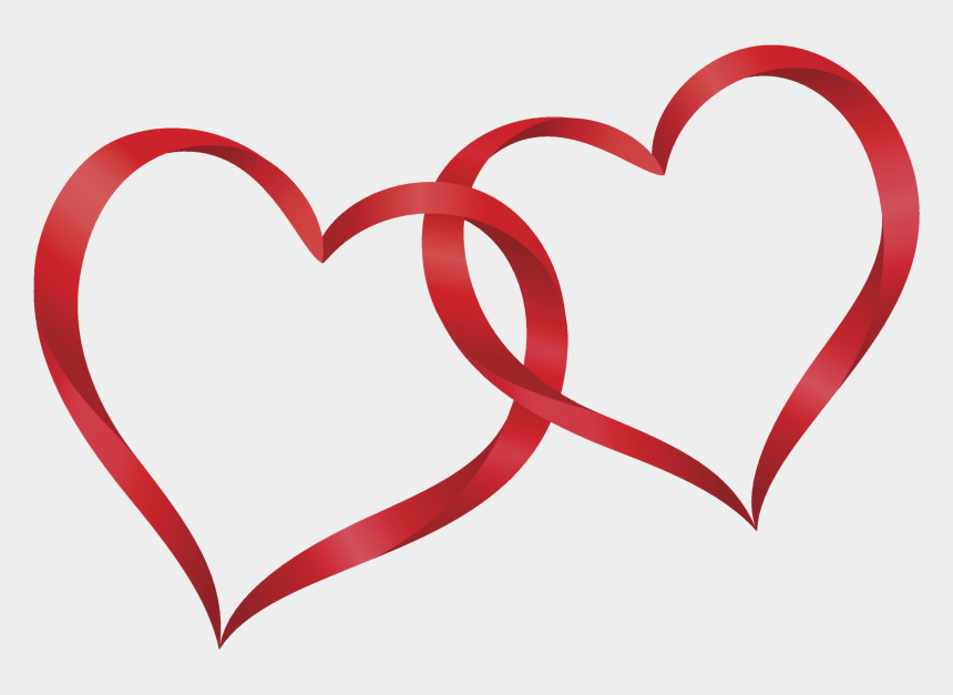 double heart clipart black and white, Cartoons - Interlocking Heart Cliparts - Two Red Hearts Png