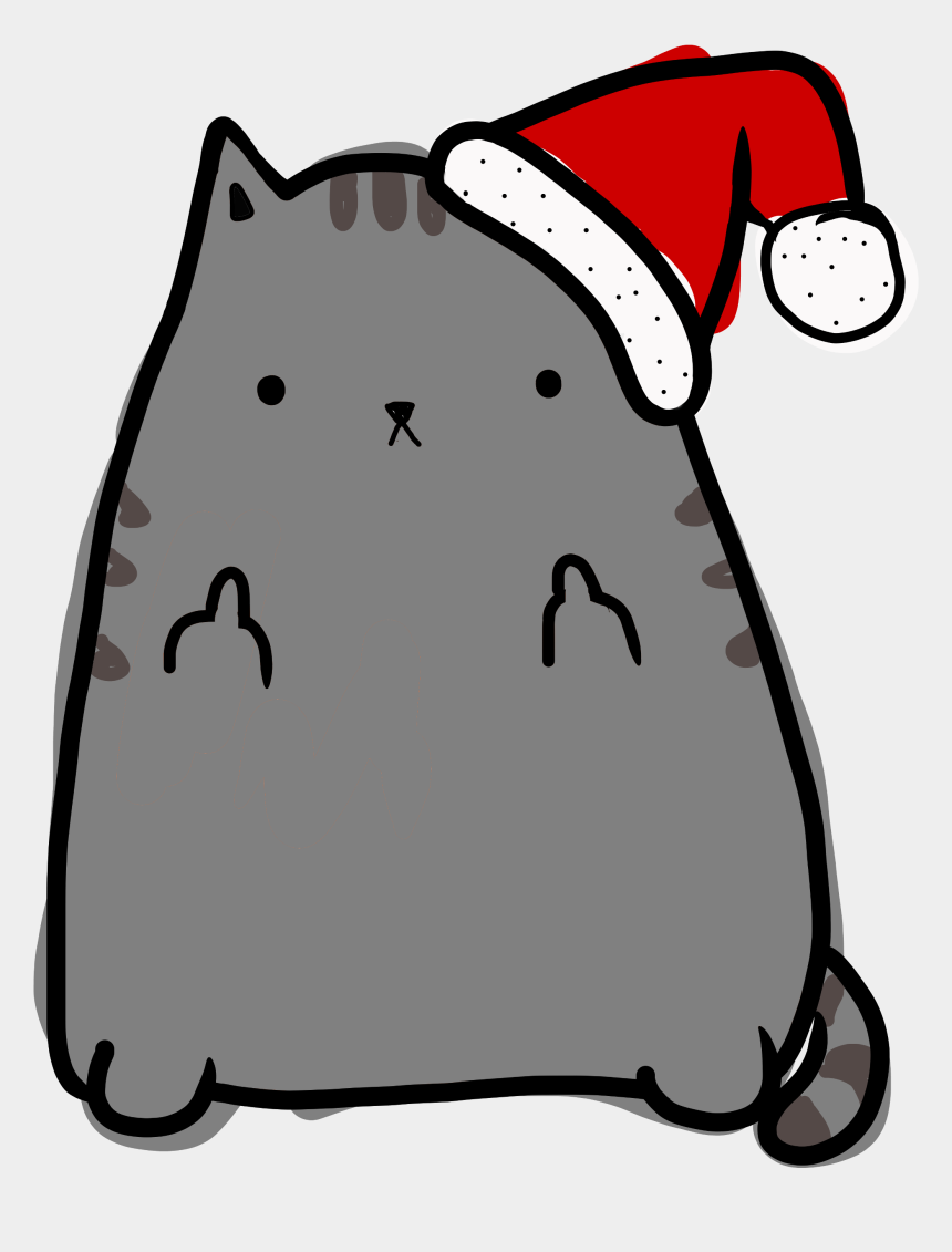 pusheen clipart, Cartoons - Hd Cat Drawing Png Free Unlimited Download - Christmas Cat Card Drawing