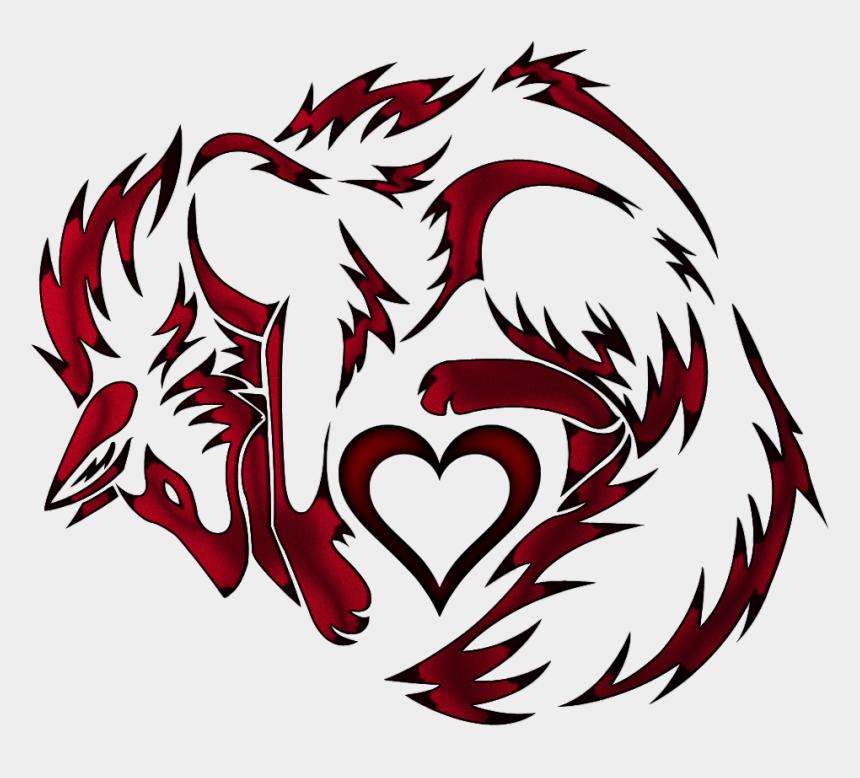 nine clipart, Cartoons - Nine-tailed Fox Tattoo Kitsune Clip Art - Fox On Heart Tattoo