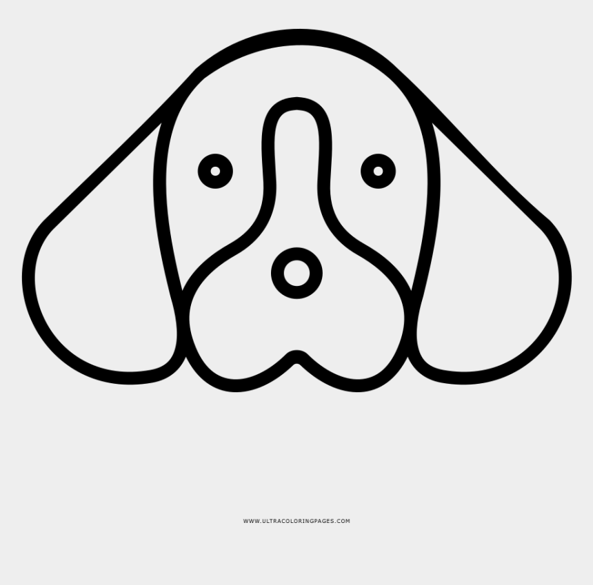 dog face clipart black and white, Cartoons - Dog Face Coloring Page - Cara De Perro Emoji Png