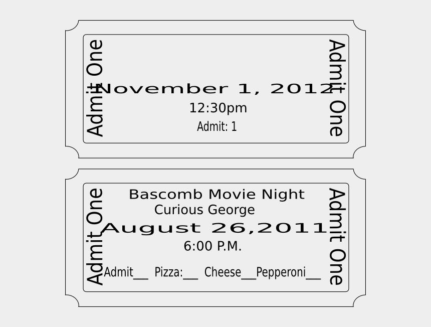 admit one ticket clipart, Cartoons - Movie Ticket Template
