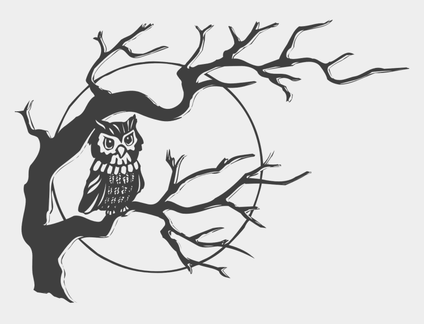 halloween clip art black and white, Cartoons - Creepy Free On Dumielauxepices Net - Owl On A Tree Drawing